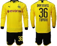 Mens 19-20 Soccer Borussia Dortmund Club #36 Toprak Yellow Home Long Sleeve Suit Jersey