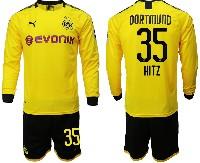 Mens 19-20 Soccer Borussia Dortmund Club #35 Hitz Yellow Home Long Sleeve Suit Jersey