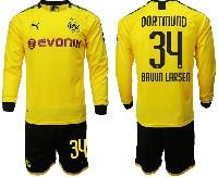 Mens 19-20 Soccer Borussia Dortmund Club #34 Bruun Larsen Yellow Home Long Sleeve Suit Jersey