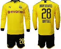 Mens 19-20 Soccer Borussia Dortmund Club #28 Witsel Yellow Home Long Sleeve Suit Jersey