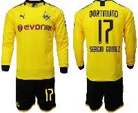 Mens 19-20 Soccer Borussia Dortmund Club #17 Sergio Gomez Yellow Home Long Sleeve Suit Jersey