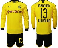 Mens 19-20 Soccer Borussia Dortmund Club #13 Guerreiro Yellow Home Long Sleeve Suit Jersey