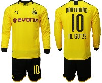 Mens 19-20 Soccer Borussia Dortmund Club #10 M. Gotze Yellow Home Long Sleeve Suit Jersey