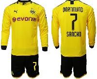 Mens 19-20 Soccer Borussia Dortmund Club #7 Sancho Yellow Home Long Sleeve Suit Jersey