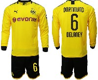 Mens 19-20 Soccer Borussia Dortmund Club #6 Delaney Yellow Home Long Sleeve Suit Jersey