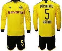 Mens 19-20 Soccer Borussia Dortmund Club #5 Hakimi Yellow Home Long Sleeve Suit Jersey