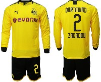 Mens 19-20 Soccer Borussia Dortmund Club #2 Zagadou Yellow Home Long Sleeve Suit Jersey
