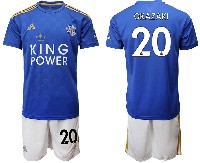 Mens 19-20 Soccer Leicester City Club #20 Okazaki Blue Home Short Sleeve Suit Jersey
