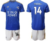 Mens 19-20 Soccer Leicester City Club #14 Pereira Blue Home Short Sleeve Suit Jersey