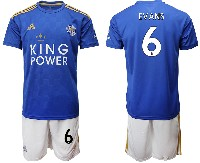 Mens 19-20 Soccer Leicester City Club #6 Evans Blue Home Short Sleeve Suit Jersey