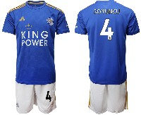 Mens 19-20 Soccer Leicester City Club #4 Soyuncu Blue Home Short Sleeve Suit Jersey