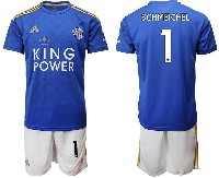 Mens 19-20 Soccer Leicester City Club #1 Schmeichel Blue Home Short Sleeve Suit Jersey