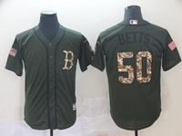 Mens Mlb Boston Red Sox #50 Mookie Betts Green Camo Number Cool Base Jersey