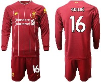 Mens 19-20 Soccer Liverpool Club #16 Grujic Red Home Long Sleeve Suit Jersey
