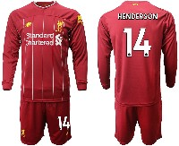 Mens 19-20 Soccer Liverpool Club #14 Henderson Red Home Long Sleeve Suit Jersey