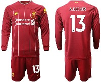 Mens 19-20 Soccer Liverpool Club #13 A.becker Red Home Long Sleeve Suit Jersey