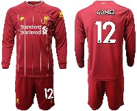 Mens 19-20 Soccer Liverpool Club #12 Gomez Red Home Long Sleeve Suit Jersey