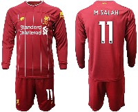 Mens 19-20 Soccer Liverpool Club #11 M.salah Red Home Long Sleeve Suit Jersey