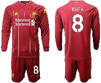 Mens 19-20 Soccer Liverpool Club #8 Keita Red Home Long Sleeve Suit Jersey