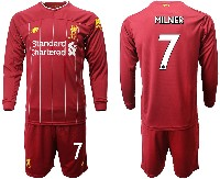 Mens 19-20 Soccer Liverpool Club #7 Milner Red Home Long Sleeve Suit Jersey