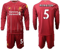 Mens 19-20 Soccer Liverpool Club #5 Wijnaldum Red Home Long Sleeve Suit Jersey