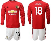 Mens 19-20 Soccer Manchester United Club #18 Young Red Home Long Sleeve Suit Jersey