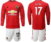 Mens 19-20 Soccer Manchester United Club #17 Blind Red Home Long Sleeve Suit Jersey