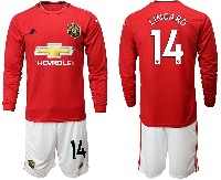 Mens 19-20 Soccer Manchester United Club #14 Lingard Red Home Long Sleeve Suit Jersey