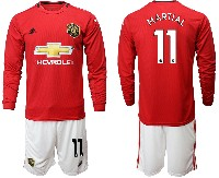 Mens 19-20 Soccer Manchester United Club #11 Martial Red Home Long Sleeve Suit Jersey