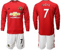 Mens 19-20 Soccer Manchester United Club #7 Alexis Red Home Long Sleeve Suit Jersey