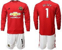 Mens 19-20 Soccer Manchester United Club #1 De Gea Red Home Long Sleeve Suit Jersey