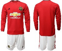 Mens 19-20 Soccer Manchester United Club ( Blank ) Red Home Long Sleeve Suit Jersey