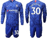Mens 19-20 Soccer Chelsea Club #30 David Luiz Blue Home Long Sleeve Suit Jersey