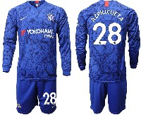 Mens 19-20 Soccer Chelsea Club #28 Azpilicueta Blue Home Long Sleeve Suit Jersey