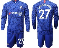 Mens 19-20 Soccer Chelsea Club #27 Christensen Blue Home Long Sleeve Suit Jersey