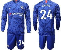 Mens 19-20 Soccer Chelsea Club #24 Cahill Blue Home Long Sleeve Suit Jersey