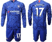 Mens 19-20 Soccer Chelsea Club #17 Kovacic Blue Home Long Sleeve Suit Jersey