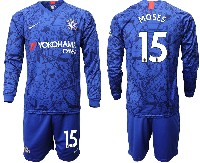 Mens 19-20 Soccer Chelsea Club #15 Moses Blue Home Long Sleeve Suit Jersey