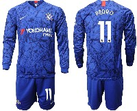Mens 19-20 Soccer Chelsea Club #11 Pedro Blue Home Long Sleeve Suit Jersey