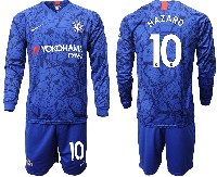 Mens 19-20 Soccer Chelsea Club #10 Hazard Blue Home Long Sleeve Suit Jersey