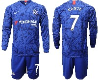 Mens 19-20 Soccer Chelsea Club #7 Kante Blue Home Long Sleeve Suit Jersey