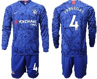 Mens 19-20 Soccer Chelsea Club #4 Fabregas Blue Home Long Sleeve Suit Jersey