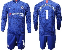 Mens 19-20 Soccer Chelsea Club #1 Arrizabalaga Blue Home Long Sleeve Suit Jersey