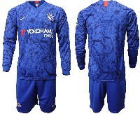 Mens 19-20 Soccer Chelsea Club ( Blank ) Blue Home Long Sleeve Suit Jersey