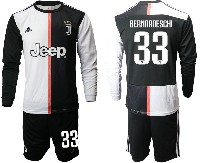 Mens 19-20 Soccer Juventus Club #33 Bernardeschi White & Black Home Long Sleeve Suit Jersey
