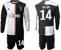 Mens 19-20 Soccer Juventus Club #14 Matuidi White & Black Home Long Sleeve Suit Jersey