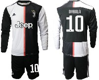Mens 19-20 Soccer Juventus Club #10 Dybala White & Black Home Long Sleeve Suit Jersey