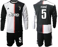 Mens 19-20 Soccer Juventus Club #5 Pjanic White & Black Home Long Sleeve Suit Jersey