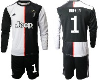 Mens 19-20 Soccer Juventus Club #1 Buffon White & Black Home Long Sleeve Suit Jersey