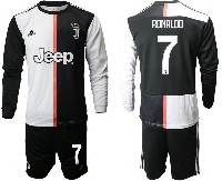 Mens 19-20 Soccer Juventus Club #7 Ronaldo White & Black Home Long Sleeve Suit Jersey